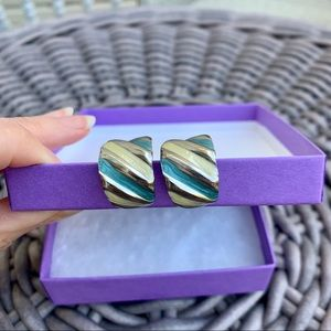 Wavy Blue & Silver Clip-on Earrings